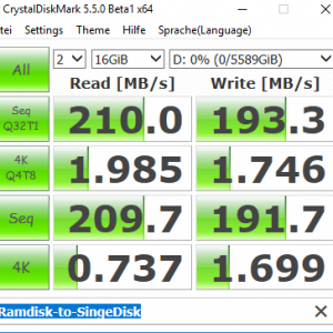 CrystalDiskMark Ramdisk to Single Drive