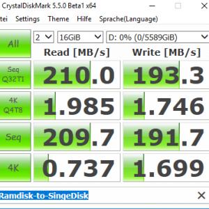 CrystalDiskMark Ramdisk to Single Drive