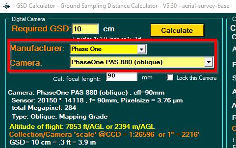 GSD Calculator version 5.30